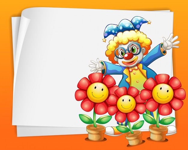 An empty paper with a clown and pots of flowers Free Vector