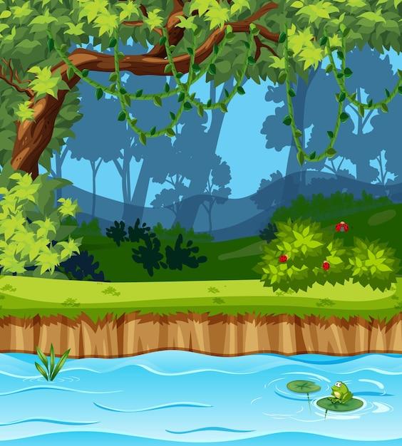 Scena del parco vuoto con molti alberi e palude Vettore gratuito