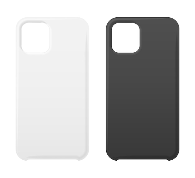 Empty phone black and white cover, smartphone blank case mockup s  on white. Premium Vector