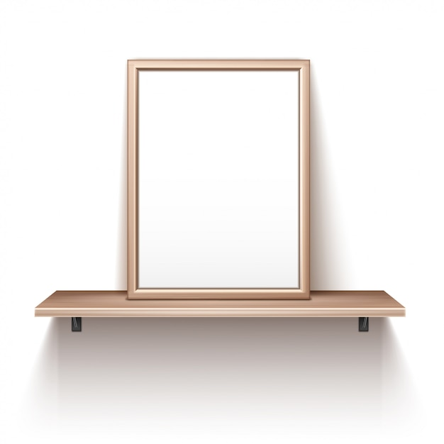 Empty photo frame standing on wooden shelf Free Vector