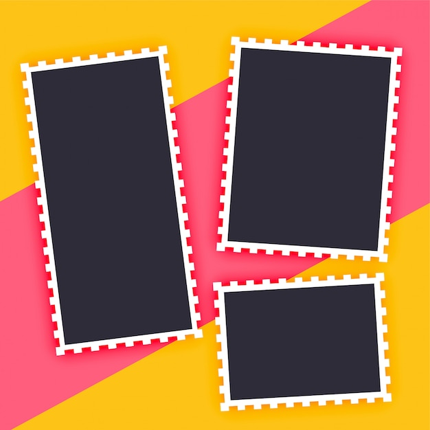 Empty photo frame stylish background Free Vector