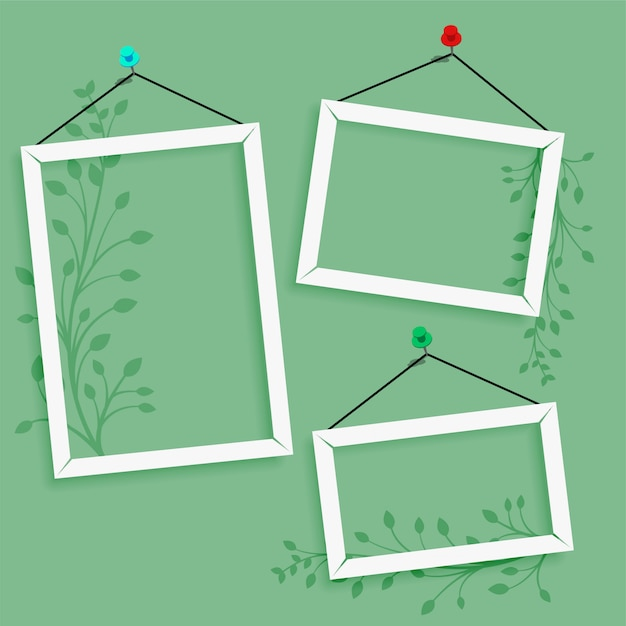 Empty photo frame with floral decoration Free Vector