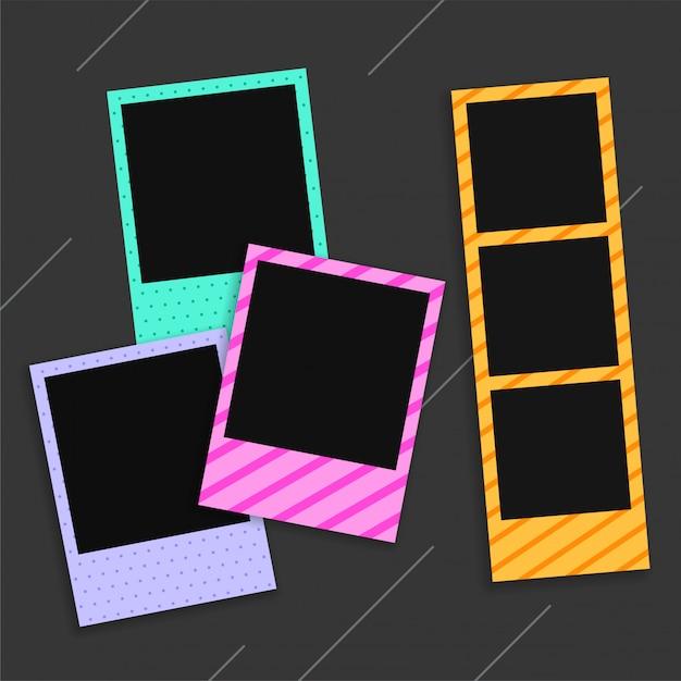 Empty photo frames on black Free Vector