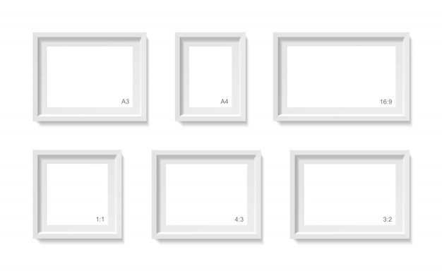 Empty picture frames mockup. photo container template. 3d illustration isolated on white wall. blank space for paper poster. objects set Premium Vector