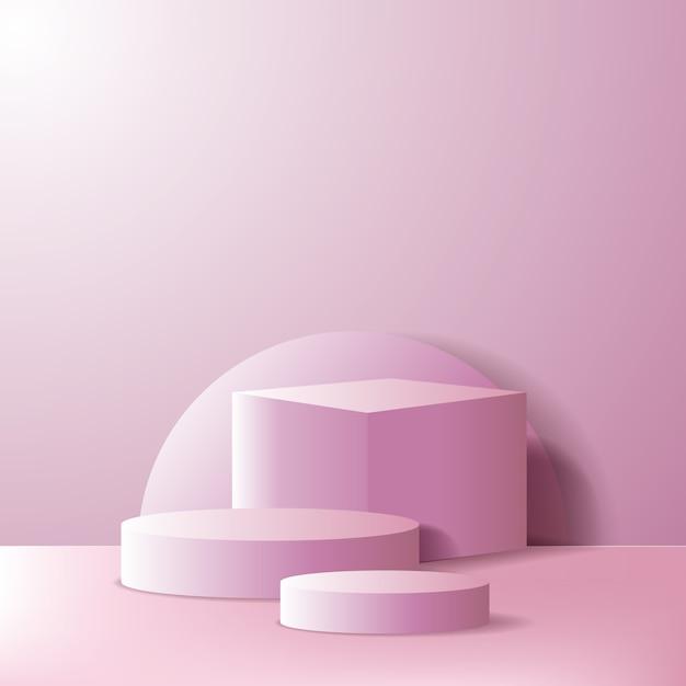 Пустая сцена подиума или витрина для демонстрации продуктов. геометрическая 3d коробка и цилиндр розового цвета Premium векторы