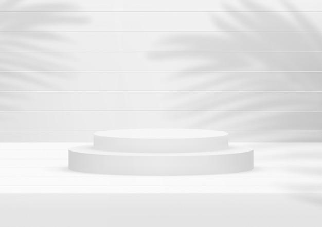 Предпосылка пустой студии подиума белая деревянная с ладонью выходит для дисплея продукта. Premium векторы