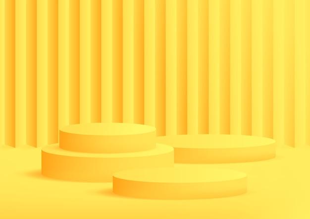 Пустой подиум студии желтый фон для отображения продукта с копией пространства. Premium векторы