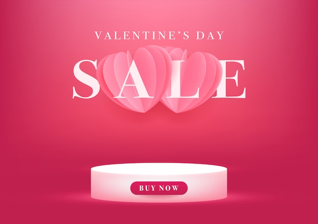 Empty podium with valentine's day sale banner Premium Vector
