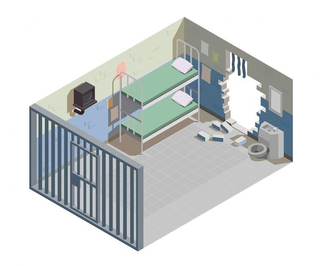 Пустая тюремная камера для двух заключенных с разбитой стеной и сбежавшими из тюрьмы преступниками изометрическая композиция иллюстрация Бесплатные векторы