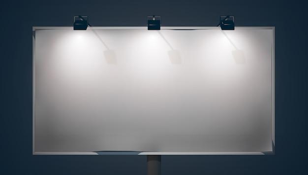 隔離された暗い背景にランプと金属フレームと空のプロモーション水平看板 Premiumベクター