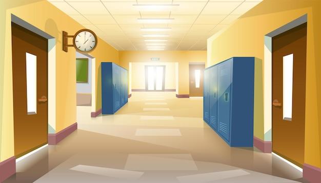 Пустой школьный коридор учеников с дверями и часами на стене. Premium векторы
