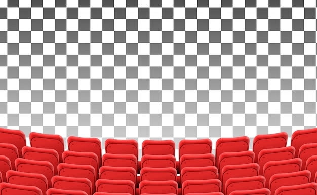 Empty red seats at the front theater movie isolated Premium Vector