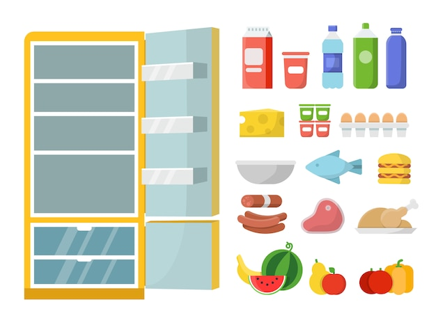 Empty refrigerator and different food. vector flat illustrations. refrigerator and food fresh, milk bottle and meat, vegetable and fruit Premium Vector