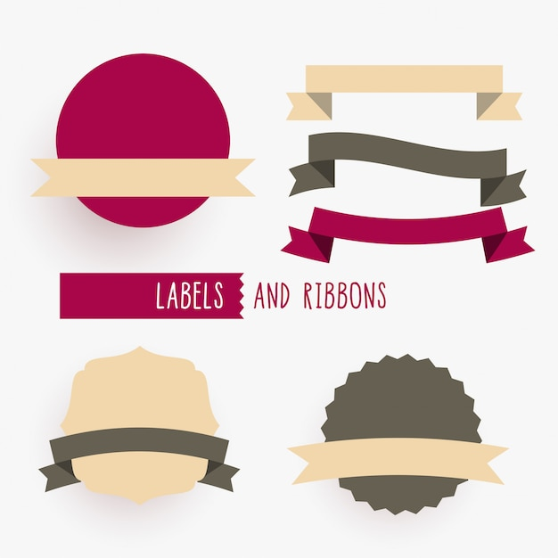 Empty ribbons and labels design elements set Free Vector
