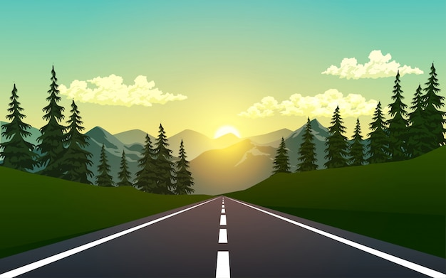 Empty road in the forest Premium Vector