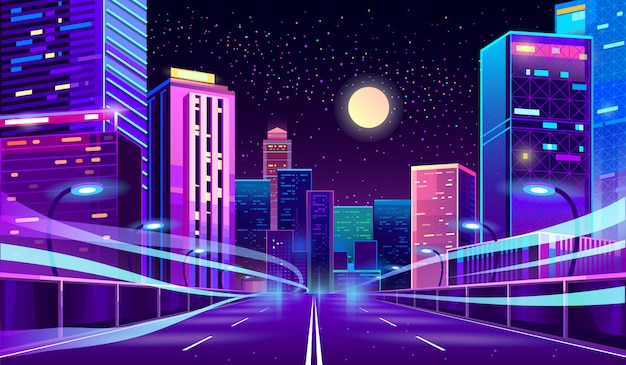 Empty road in megapolis at night Free Vector