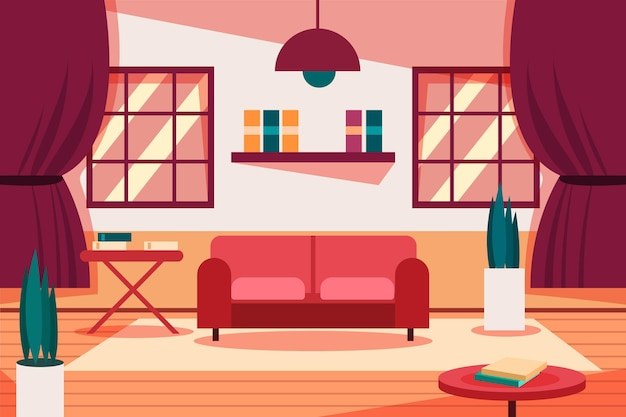 Фон пустой комнаты для видеоконференцсвязи Бесплатные векторы