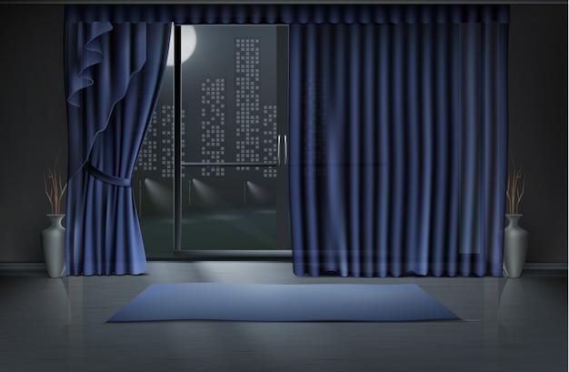 Пустая комната в ночное время с большой стеклянной дверью и синими шторами, коврик для йоги на чистом полу Бесплатные векторы