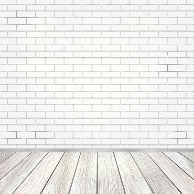 Premium Vector Empty Room Interior With White Brick Wall And Wooden Floor Background