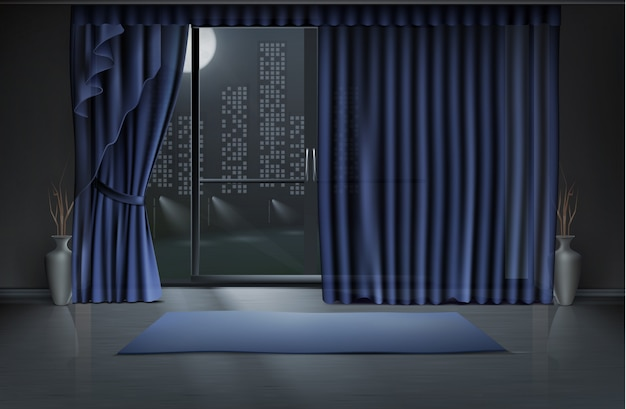 Empty room in night with large glass door and blue curtains, yoga mat on clean floor Free Vector