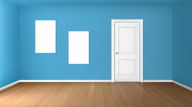 Stanza vuota con porta chiusa e manifesti in bianco Vettore gratuito