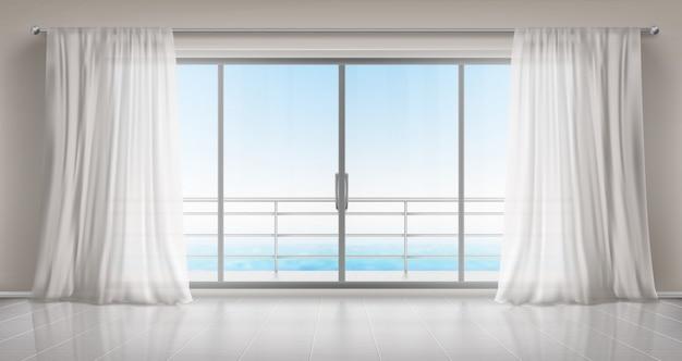 Stanza vuota con porta a vetri su balcone e tende Vettore gratuito