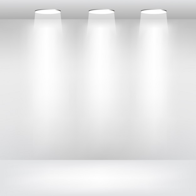Empty room with spotlights Free Vector