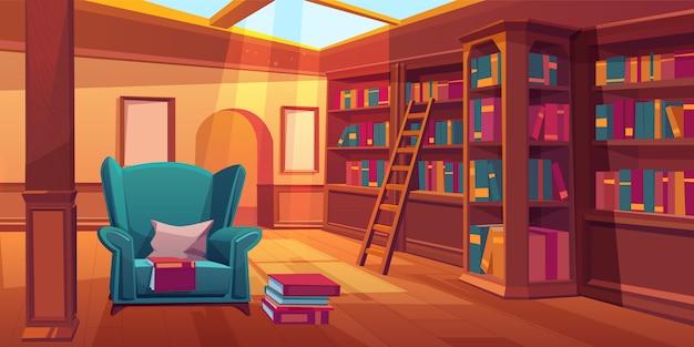 Empty room with wooden bookshelves Free Vector
