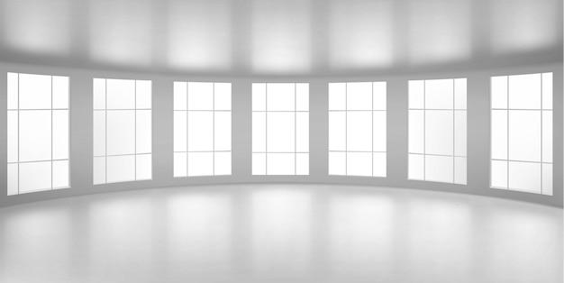 Пустая круглая комната, кабинет с большими окнами, белые потолок и пол. внутренняя внутренняя структура современной городской архитектуры, визуализация дизайн-проекта интерьера, реалистичная 3d иллюстрация Бесплатные векторы