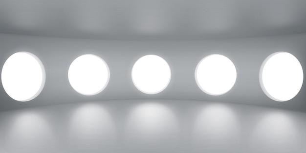 현창이있는 빈 둥근 방 무료 벡터