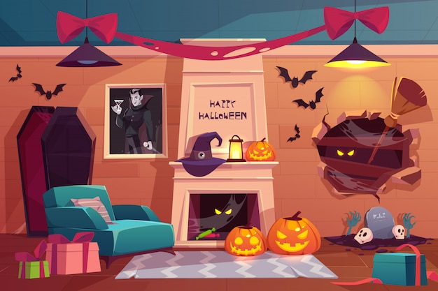 Empty scary vampire room with pumpkins, fireplace, furniture, coffin, spiderweb, flying bats and witch accessories Free Vector