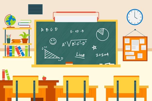 ビデオ会議のための空の学校のクラスの背景 無料ベクター