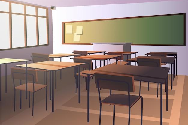 빈 학교 수업-화상 회의 배경 프리미엄 벡터