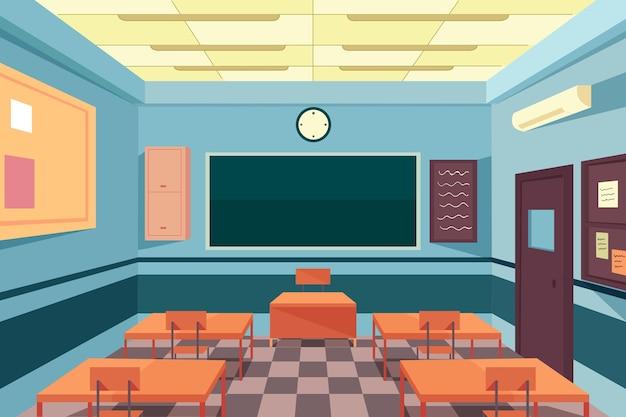 空の学校のクラス-ビデオ会議の背景 無料ベクター