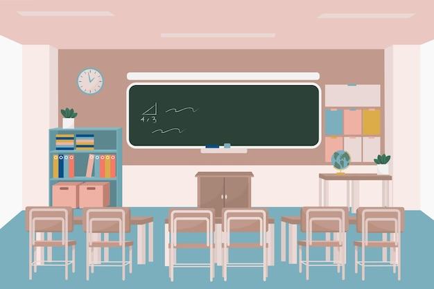 空の学校のクラス-ビデオ会議の背景 Premiumベクター