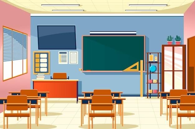화상 회의를위한 빈 학교 수업 배경 프리미엄 벡터