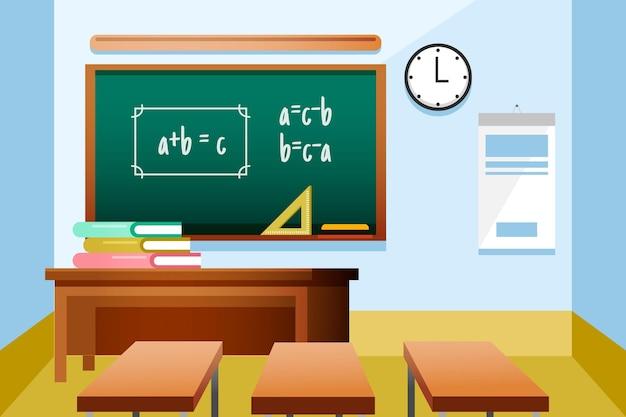 Empty school class background for video conferencing Premium Vector