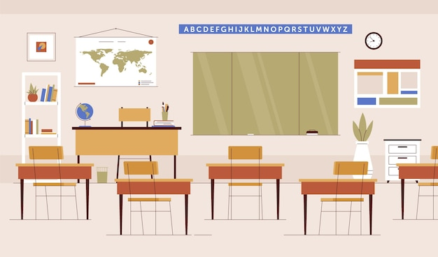 Empty school class - background for video conferencing Premium Vector