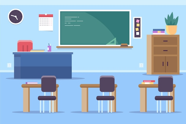Empty school class - background for video conferencing Free Vector