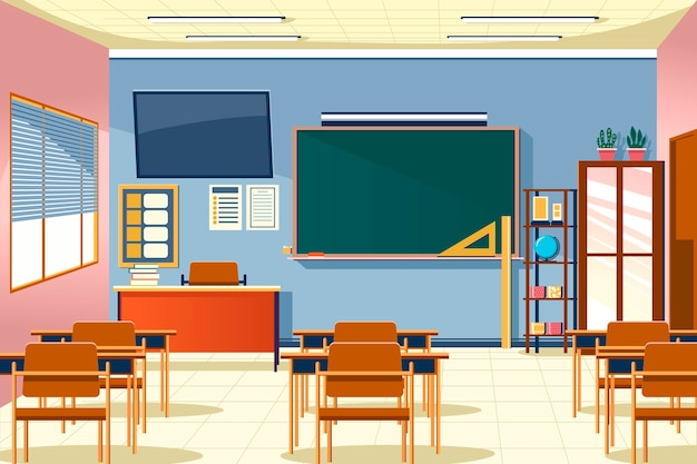 Empty school class background for video conferencing Free Vector