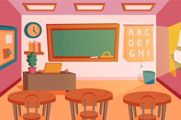 Empty school class wallpaper for video conferencing Free Vector