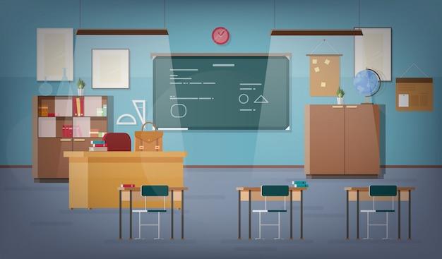 Пустой школьный класс с зеленой классной доской, подвесными светильниками, различными учебными материалами, партами, стульями и другой мебелью для учителя и учеников. цветные векторные иллюстрации в плоский. Premium векторы