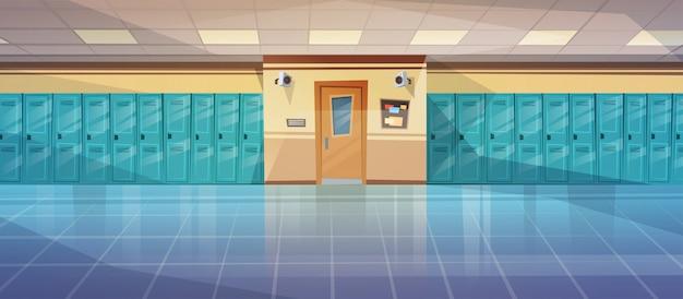 Empty school corridor interior with row of lockers Premium Vector