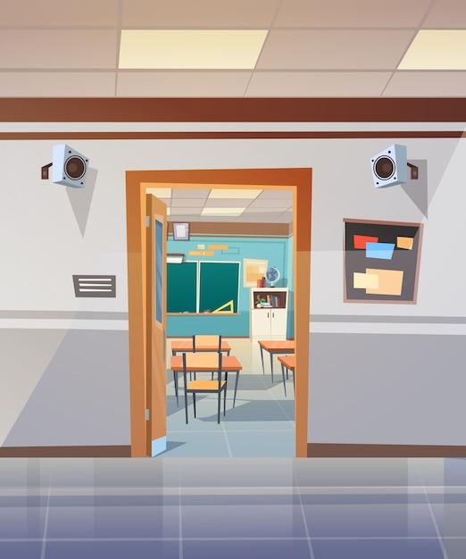 Empty school corridor with open door Premium Vector