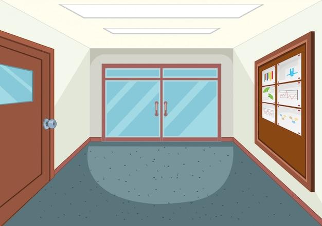 An empty school hallway Premium Vector