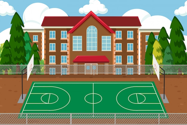 Empty school sport playground Free Vector