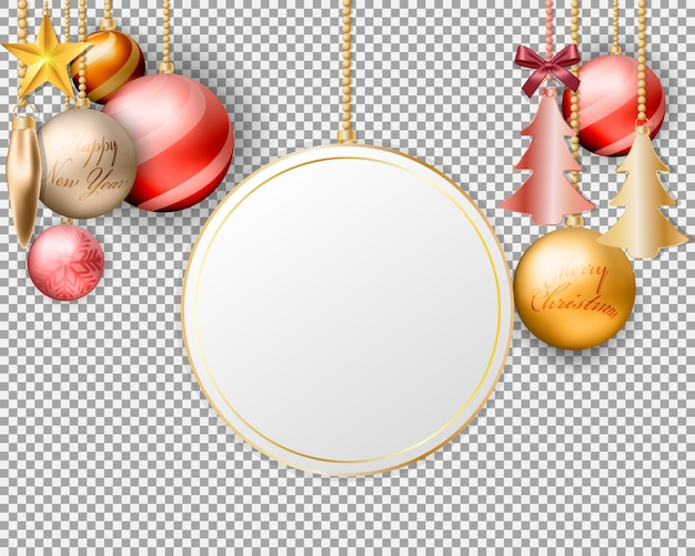 Empty screen hanging christmas balls decorations Premium Vector