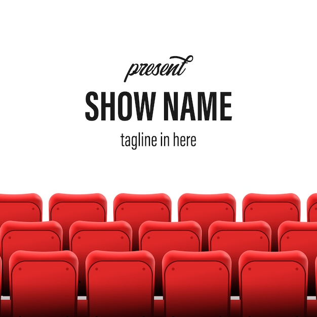 Empty seats at the cinema show stage. title template Premium Vector