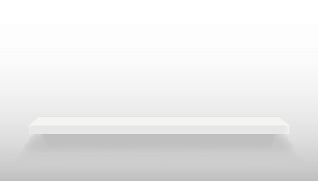 Empty shelves set on wall isolated on background. Premium Vector