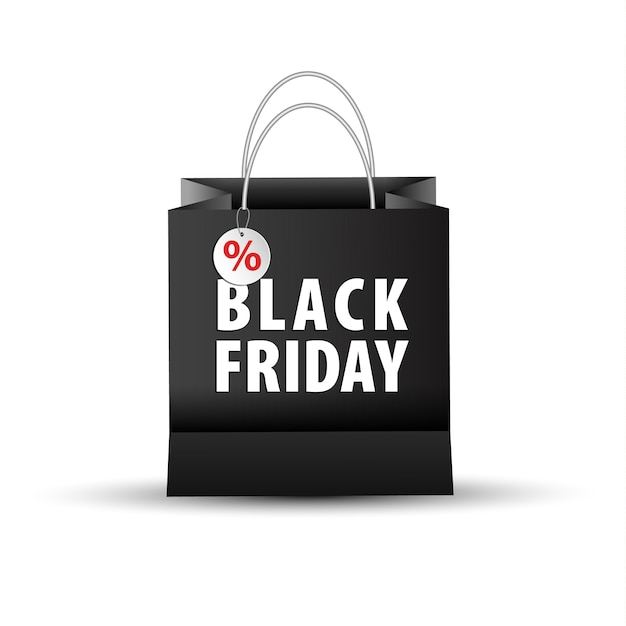 Empty shopping paper bag, black color for black friday Premium Vector